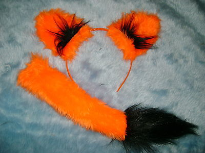 Bright Orange And Black Halloween Fox Ears And Tail Set Instant Fox Fancy Dress - Fox Ears And Tail Set Halloween
