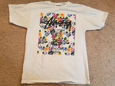 EXTREMELY RARE GRAIL! Stussy white world tour flower block tee sz med spell out for sale  Camas