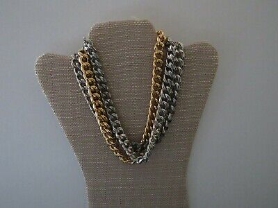 """New Old Stock"" Vintage Gucci Style Link Double 24kt Gold Electroplated Necklace"