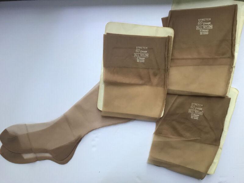 vintage ALL nylon Seam Stretch stockings 3 PAIR NEW! 60 Gauge