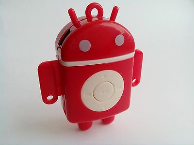 Mini Android MP3 player in RED TF card slot bundled accessories