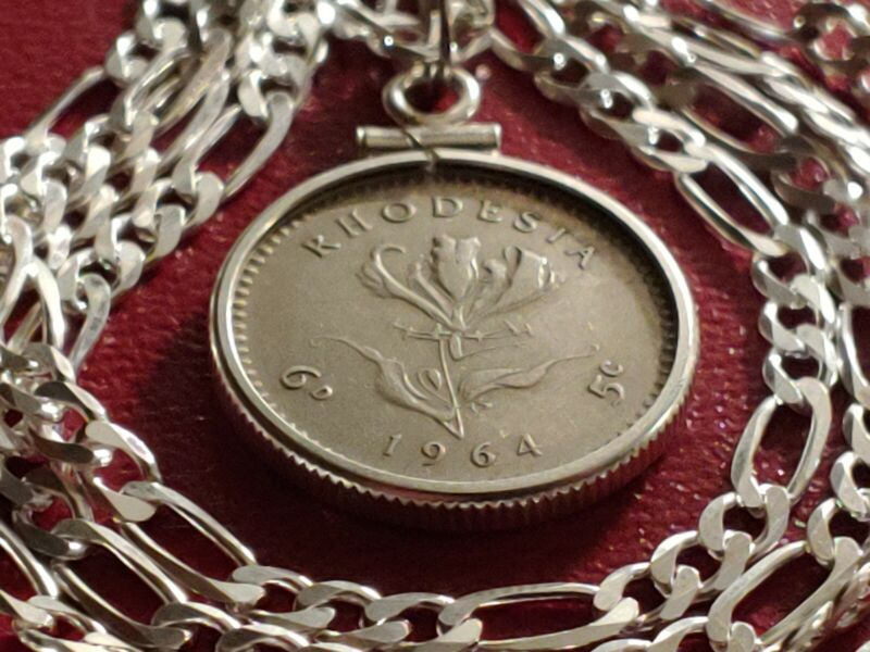 "1964 Rhodesia Sixpence .925 Pendant on a 24"" Italian Made Sterling Silver Chain."