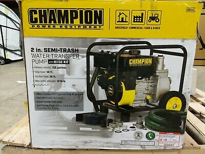 Champion 66520 - 158 Gpm 2 Semi-trash Water Transfer Pump With Hose Kit