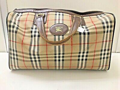 Authentic vintage Burberry nova check brown canvas leather travel boston bag