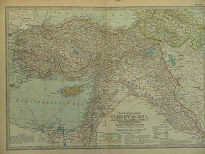 1897 Century Map of Turkey in Asia with Russia Trans-Caucasia