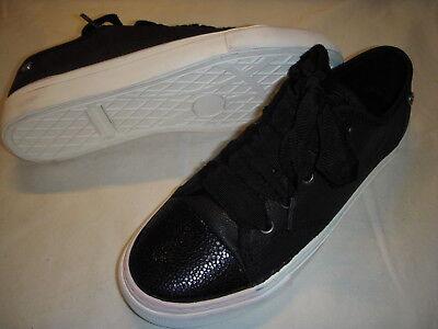 Isaac Mizrahi Live Lounge1 SOHO Leather Sneakers Womens Shoes 9 M Black +