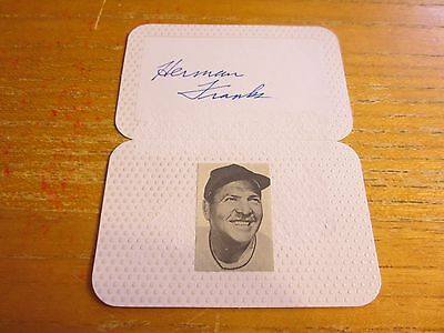 Mlb Dodgers Table (Herman Franks (d. 2009) Signed 3.5X4.5 Table Card MLB Baseball Brooklyn Dodgers )
