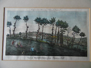 1775 View Hampstead from Primrose Hill. Antique Engraving H/col.