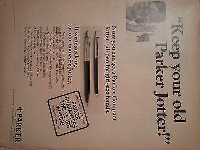 1968 Keep Your Alt Parker Jotter Guaruntee Zwei Jahre Original Anzeige
