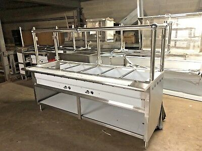 84 7ft Stainless Steel Steam Table Natural Gas 40000 Btu W Sneeze Guard Nsf