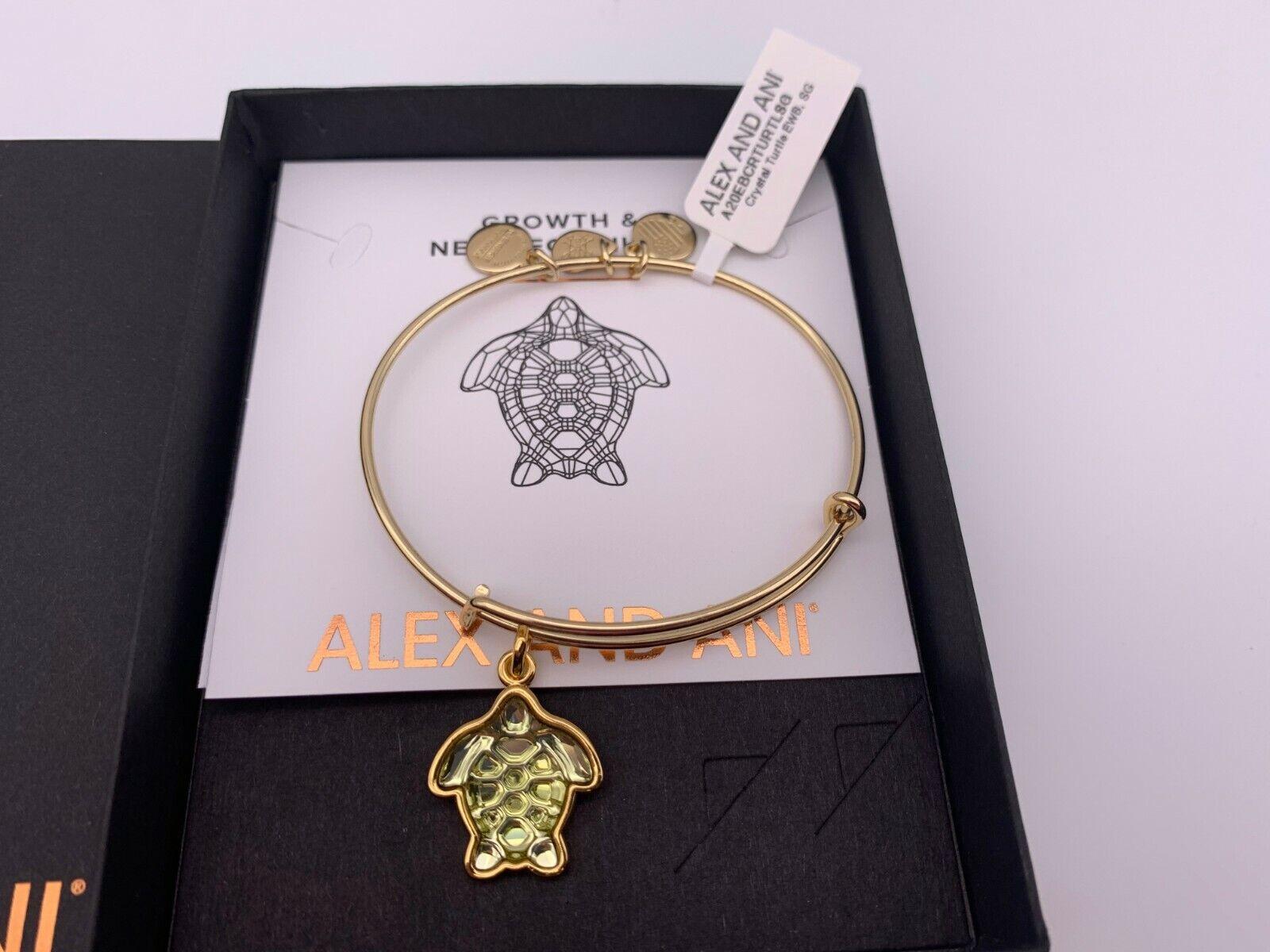 NEW Alex and Ani CRYSTAL TURTLE Shiny Gold Charm Bangle Brac