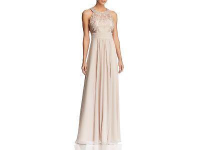 $380 ELIZA J Women's BEIGE A-LINE SLEEVELESS JEWEL NECK LACE BODICE GOWN DRESS 6