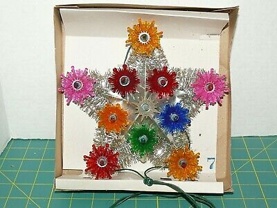 Vintage 11 Light Christmas Tree Topper Star Top Light Set in box Silver Tinsel