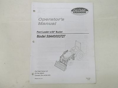 Cub Cadet Yanmar Model 59a40003727 Front Loader With 60 Bucket Operators Manual