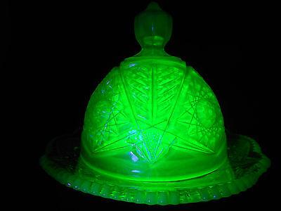 vaseline opalescent Carnival Glass serving domed butter dish uranium iridescent