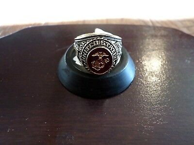 MARINE CORPS MILITARY GOLD RING RUBY CRYSTAL INLAY 18K ELECTROPLATE MENS SIZE -
