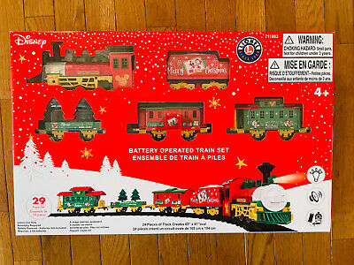NEW Disney Lionel Model Train Set Battery Operated 29 pcs Mickey Mouse Christmas