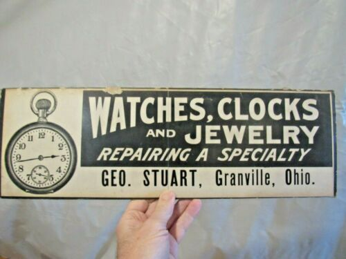 ORIGINAL VINTAGE WATCHES, CLOCKS & JEWELRY REPAIR SIGN GEO. STUART GRANVILLE OH
