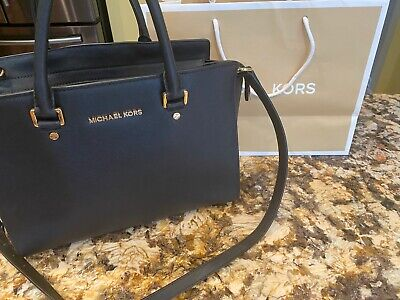 Michael Kors Saffiano Selma Medium Crossgrain Leather Satchel Bag - Black