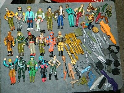 Vintage 1980's GI Joe Lot of 71 pieces..Figures,Weapons,Missles, and others