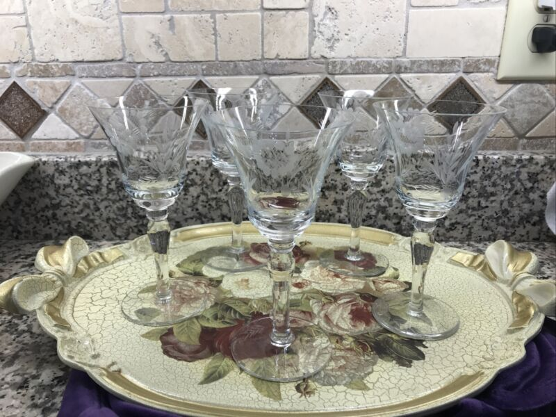 VINTAGE ETCHED CRYSTAL SET OF  5 WINE GLASSES WITH FLOWER ETCHING EXCELLENT