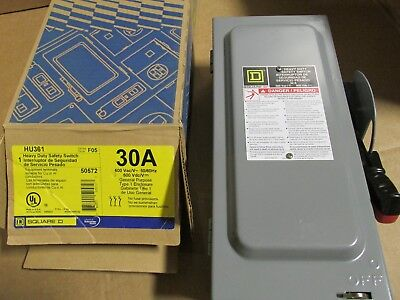 Square D 30 Amp Safety Switch Hu361 600 Vac Non-fusible New Upc 785901505723