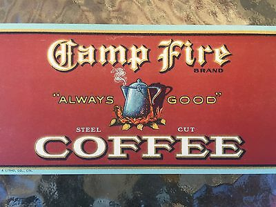 Vintage Camp Fire Coffee Can Label St Louis Missouri 1920S Always Good  Nos