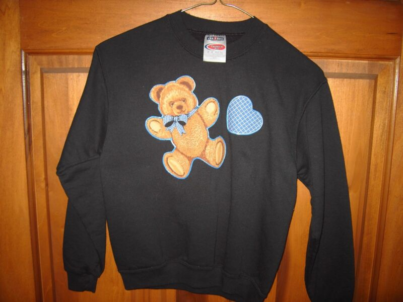 Black Sweatshirt - Teddy Bear with Blue VALENTINE - Black long sleeve M(8-10)