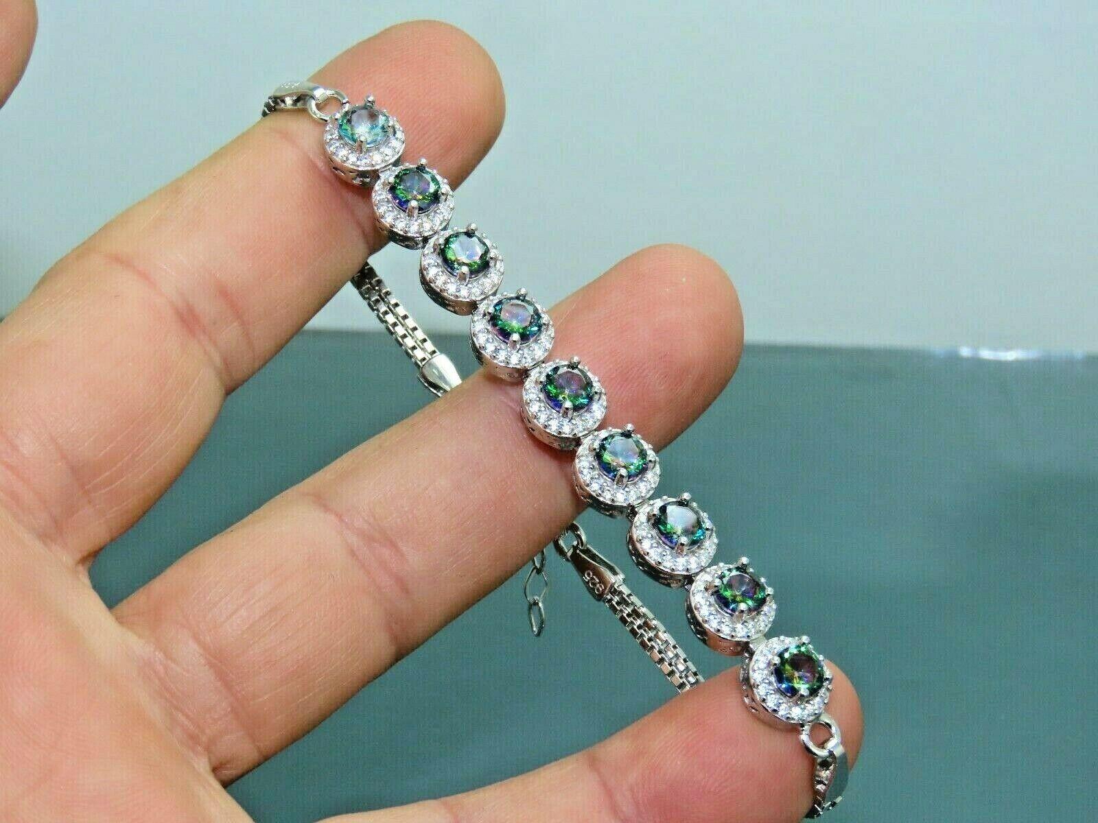 Turkish Handmade Jewelry 925 Sterling Silver Rainbow Stone Women Bracelet