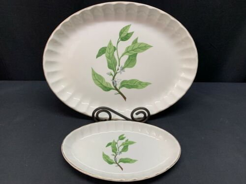 """W S George Pottery """"GREEN VALLEY"""" ~ #B-8760 ~ Serving Platter and Relish Plate"""