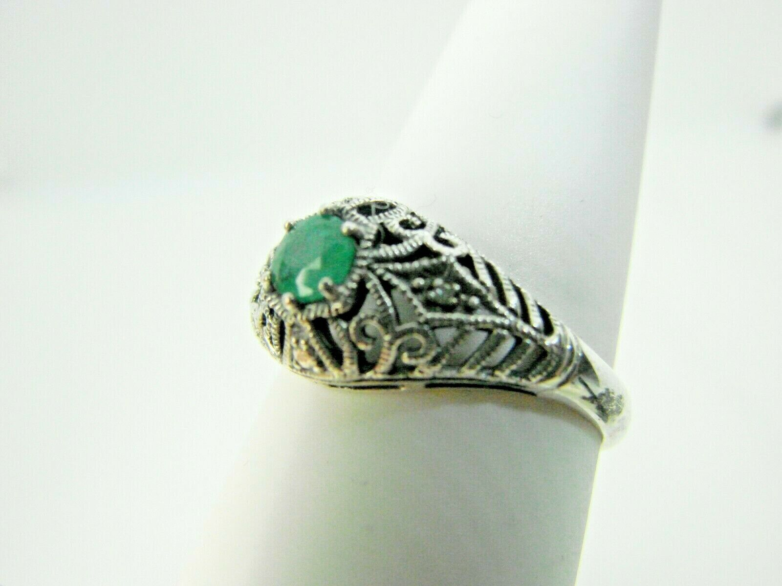 CNA Sterling Silver Filigree Ring With Emerald NRC7 - $85.00