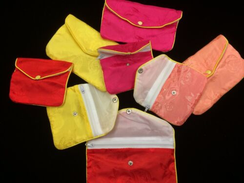 Jewelry Assorted Satin Pouches with Snap and Zipper Set of 2: 1 medium + 1 small