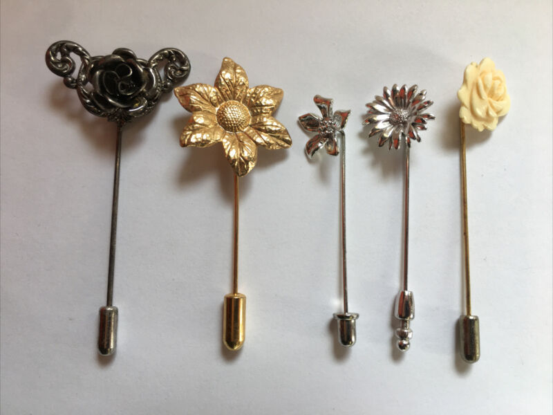 ANTIQUE FLOWER HAT PIN STICK PIN Lot Of 5