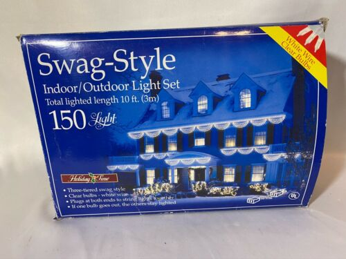 Holiday Time SWAG-STYLE CHRISTMAS 150 LIGHTS~Bunting~New