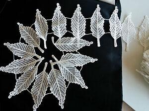 Bridal Ivory White Leaf Embroidery Guipure Lace Trim Applique Motif -- (LC0019)