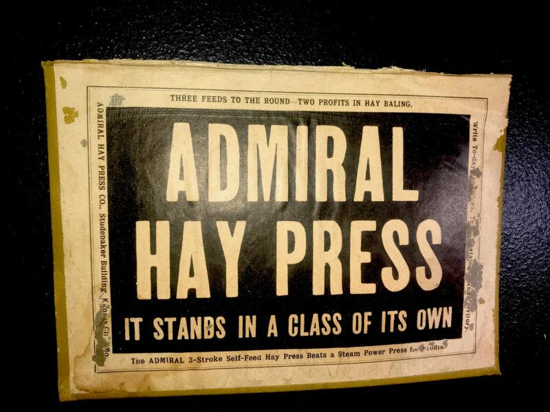 1908 Admiral Hay Press Farm Advertising - Kansas City - Missouri & John Deere