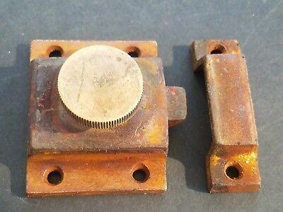 (LOT OF 1) Antique Steel Hoosier Cabinet Door Spring Slide Latch With BRASS KNOB