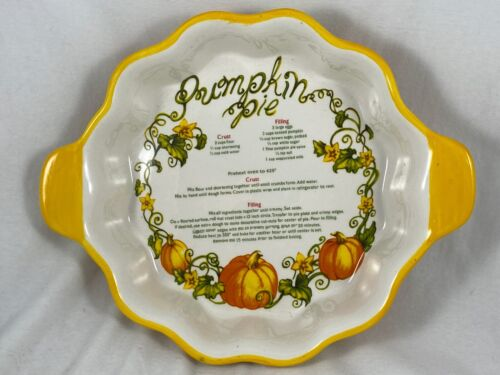 """PUMPKIN PIE 9"""" Baking DISH WITH RECIPE BY TEMPTATIONS PRESENTABLE OVENWARE"""
