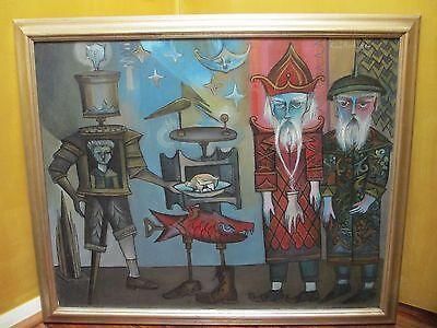 Rare Jesus Nicholas Cuellar Mexican Surreal Vintage Original Signed Oil Canvas