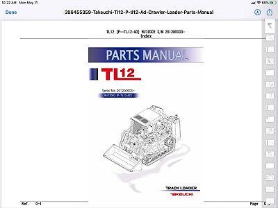 Takeuchi Tl12 Compact Track Loader Parts Manual Pdf Digital Download