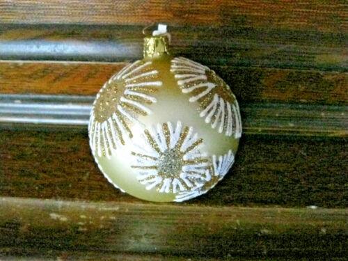 Gold & White Starburst Glass Ball Vtg Xmas Ornament made in Germany Glitter #erc