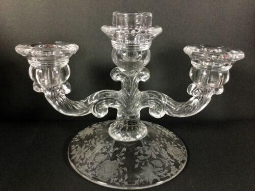 Antique Cambridge Glass Candle Holder 3 Arm Wildflower Pattern Design EUC