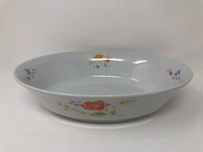 "Bake N Serve Hearthside 10"" Oval Baker Porcelain White Floral Design Japan Dish"