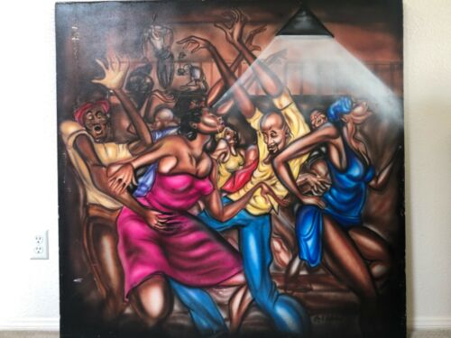 🔥 Antique Mid Century Black African American Modern Oil Painting, Ernie Barnes