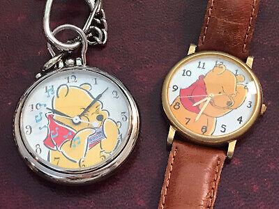 2 Disney Winnie the Pooh Watches-Pocket watch W/ Pooh Playing Harmonica & Pooh
