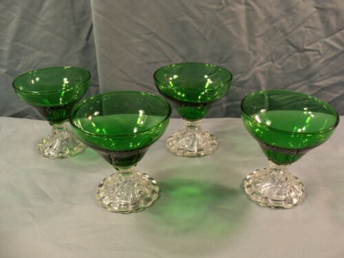 Set of 4 Anchor Hocking Forest Green Boopie Burple Sherbets Champagne Goblets