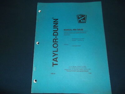 Taylor Dunn Mb-t48-00 Truck Operator Operation Maintenance Manual Book