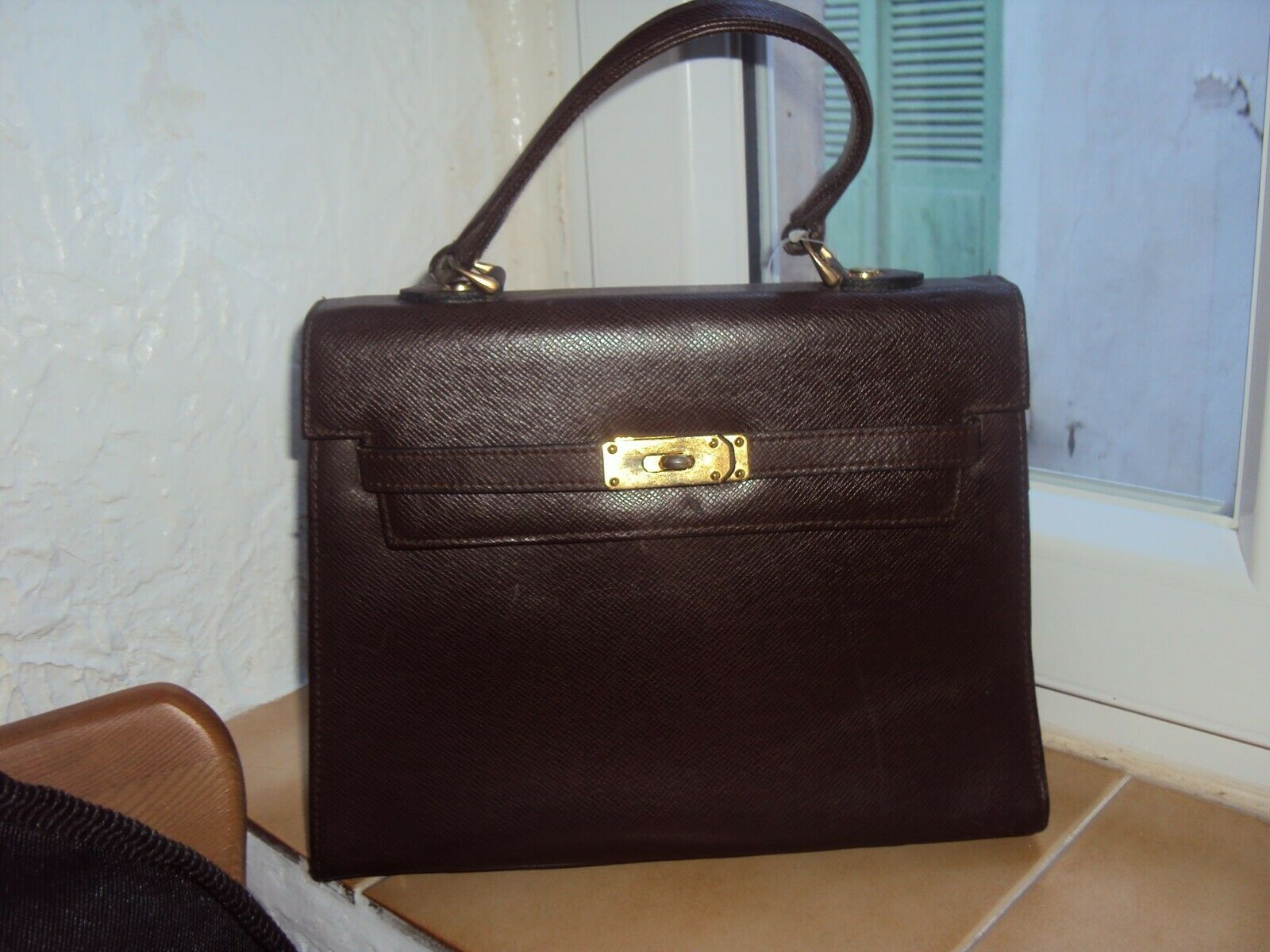 Sac à main en cuir type birkin/kelly, marron