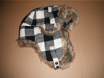 WOOLRICH BOMBER AVIATOR TRAPPER HAT white black PLAID LARGE NEW](White Aviator Hat)