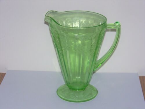 Jeannette Green Depression Glass Cherry Blossom Footed Pitcher